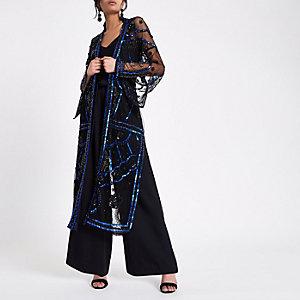 Schwarzer, verzierter Maxi-Kimono