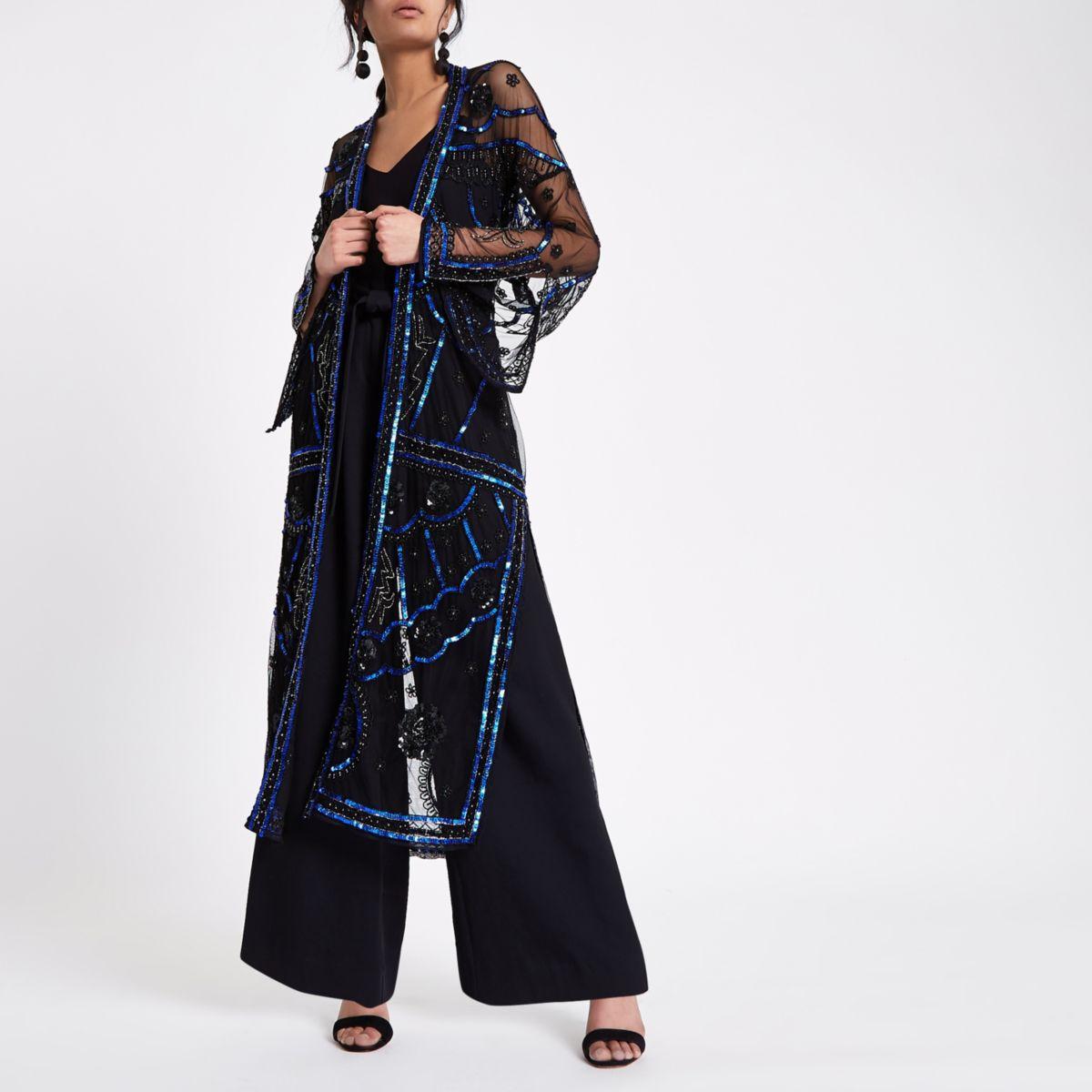 Lange zwarte verfraaide kimono