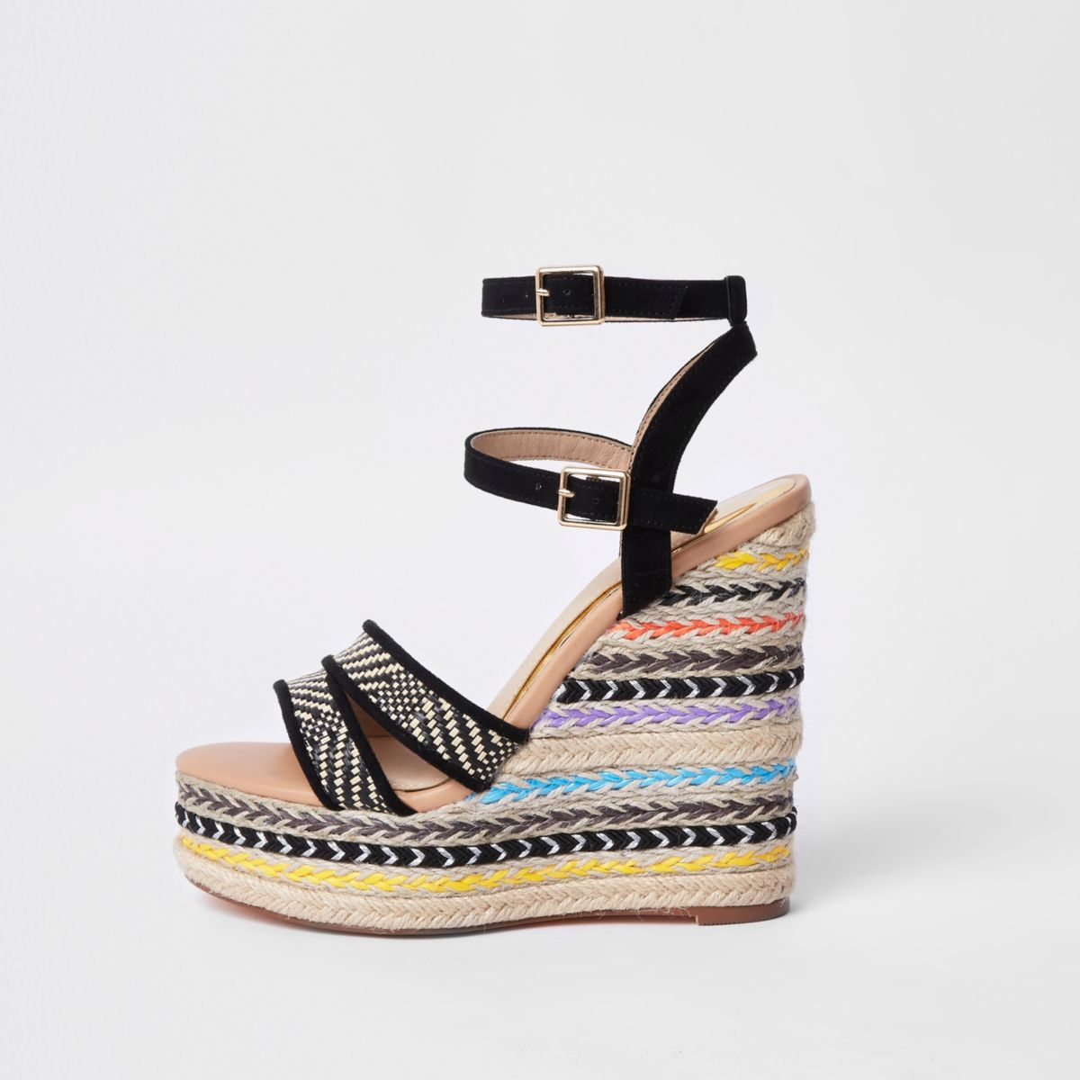Black stripe espadrille platform wedges