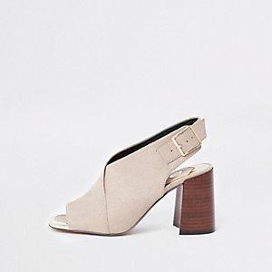 Beige block heel shoe boots