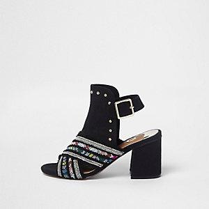 Black embellished block heel shoe boots