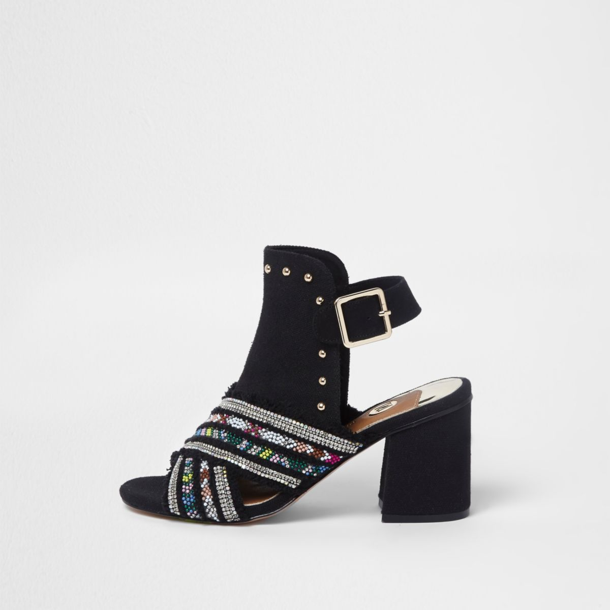 Black embellished block heel shoe boots