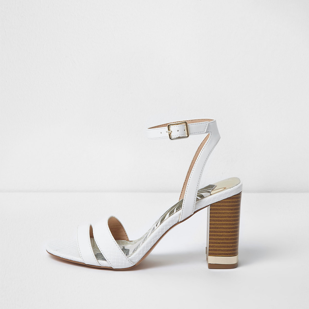 White block heel barely there sandals