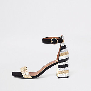 Black woven metallic block heel sandals