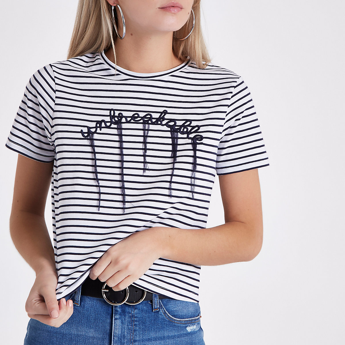 Petite navy stripe 'unbreakable' T-shirt