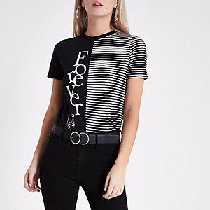 Petite – T-shirt noir rayé et imprimé «Forever»