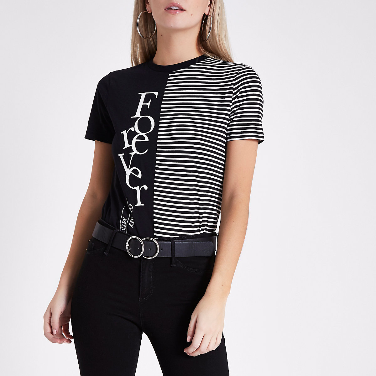 Petite black 'forever' block stripe T-shirt