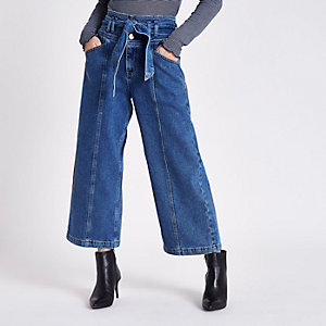 Petite blue belted denim culottes