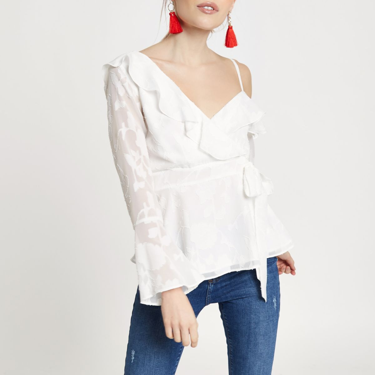 Petite white jacquard one shoulder blouse