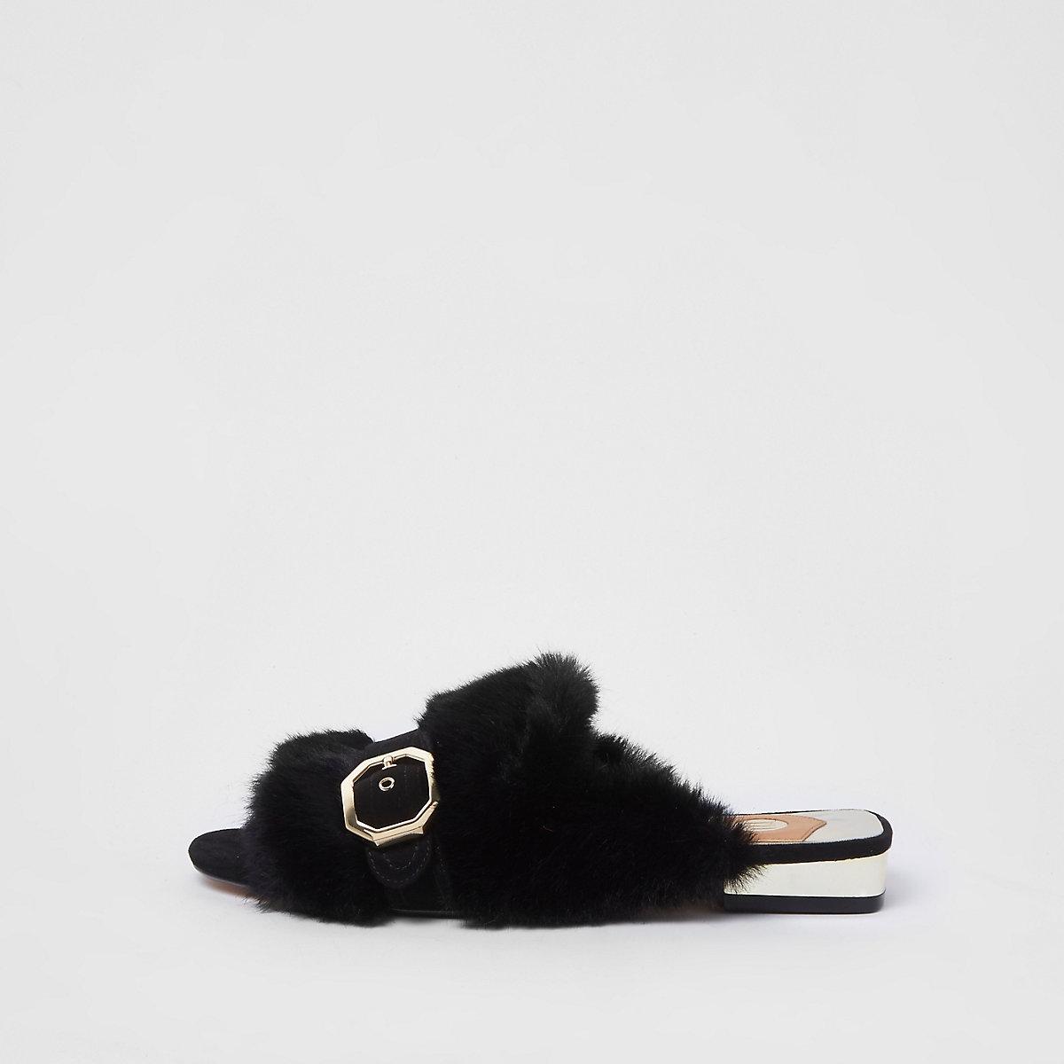 Black faux fur peep toe backless loafers