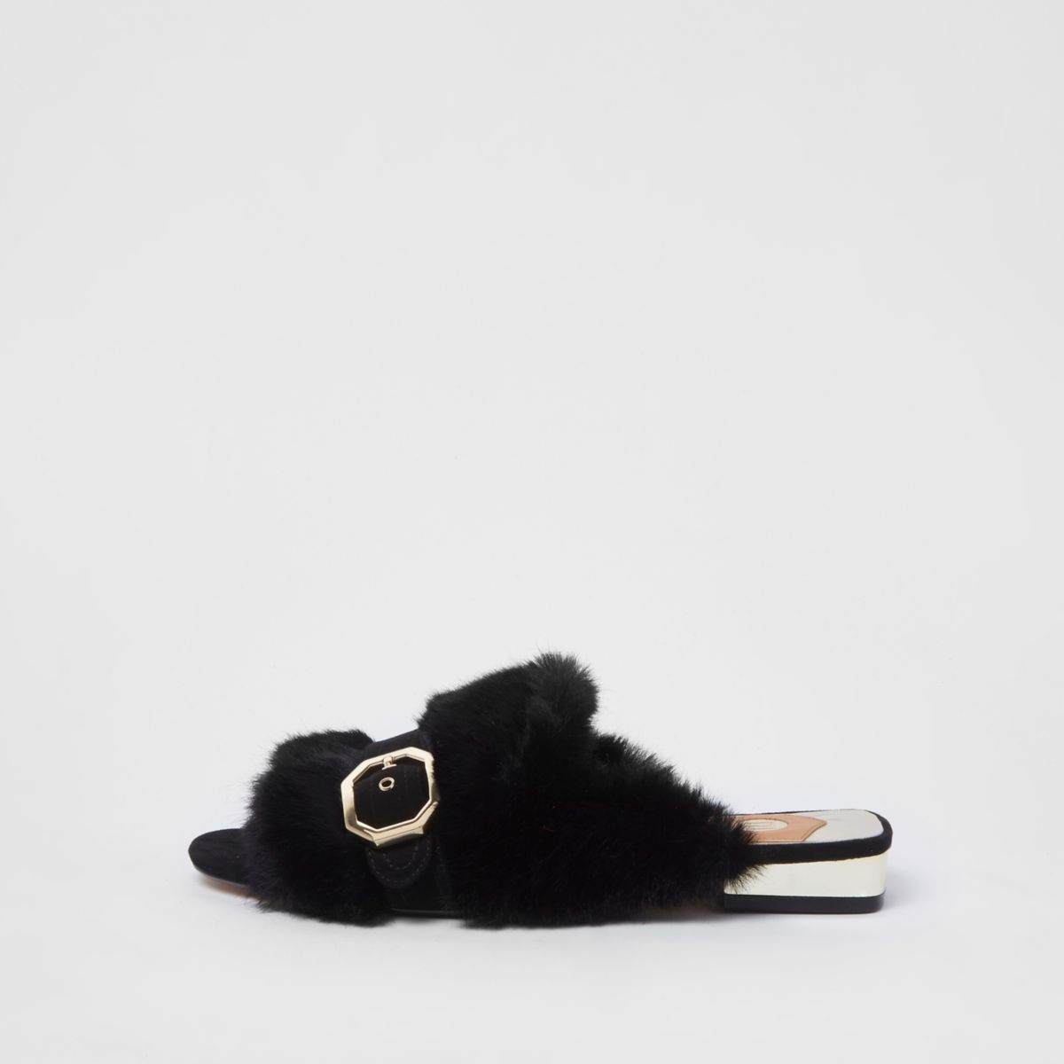 Black faux fur peep toe backless loafers