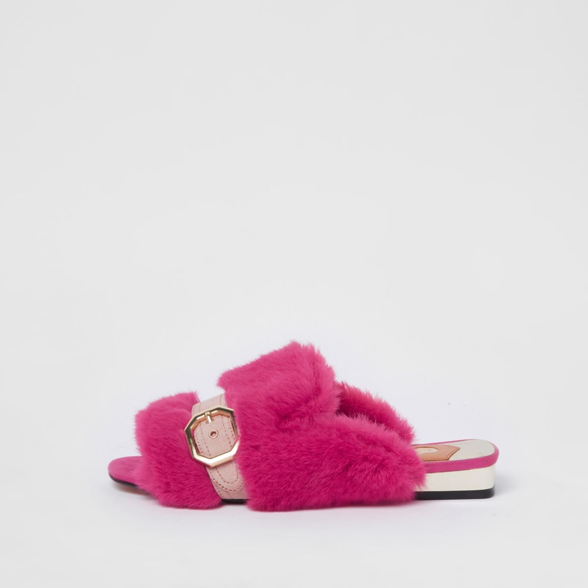Pink faux fur peep toe backless loafers