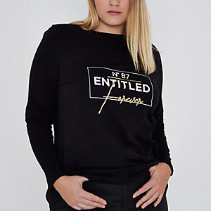 Plus black 'entitled' long sleeve T-shirt
