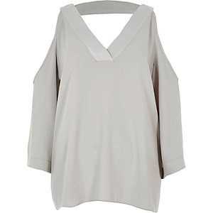 Grey cold shoulder V neck top
