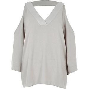 Grey cold shoulder V neck top