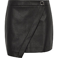 Black faux leather wrap front skort
