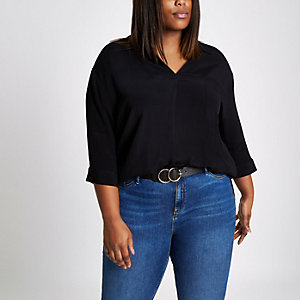 Plus black cross back loose blouse