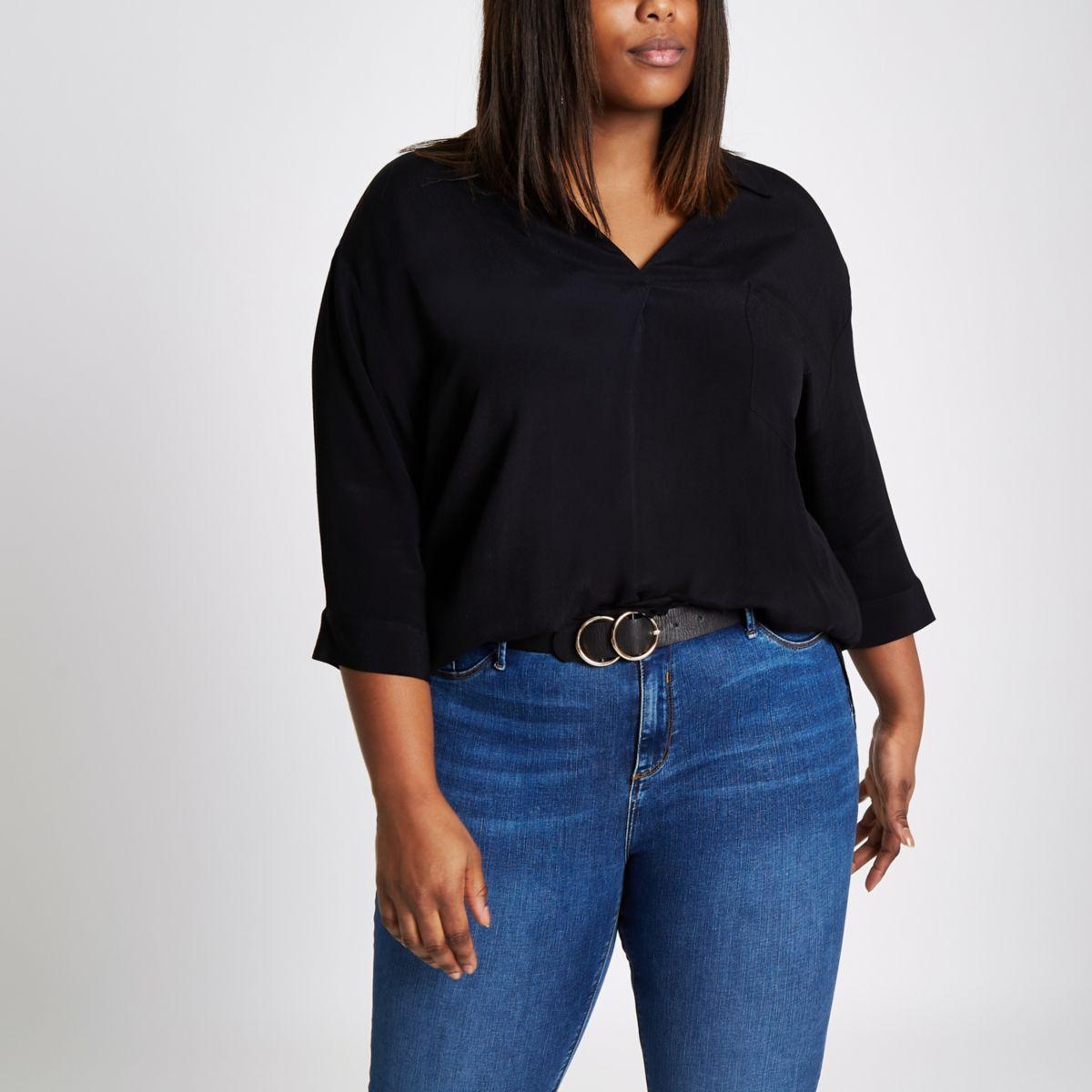 Plus black cross back loose blouse