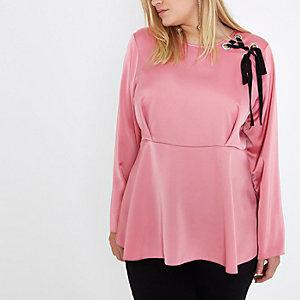 Plus pink lace-up shoulder peplum blouse
