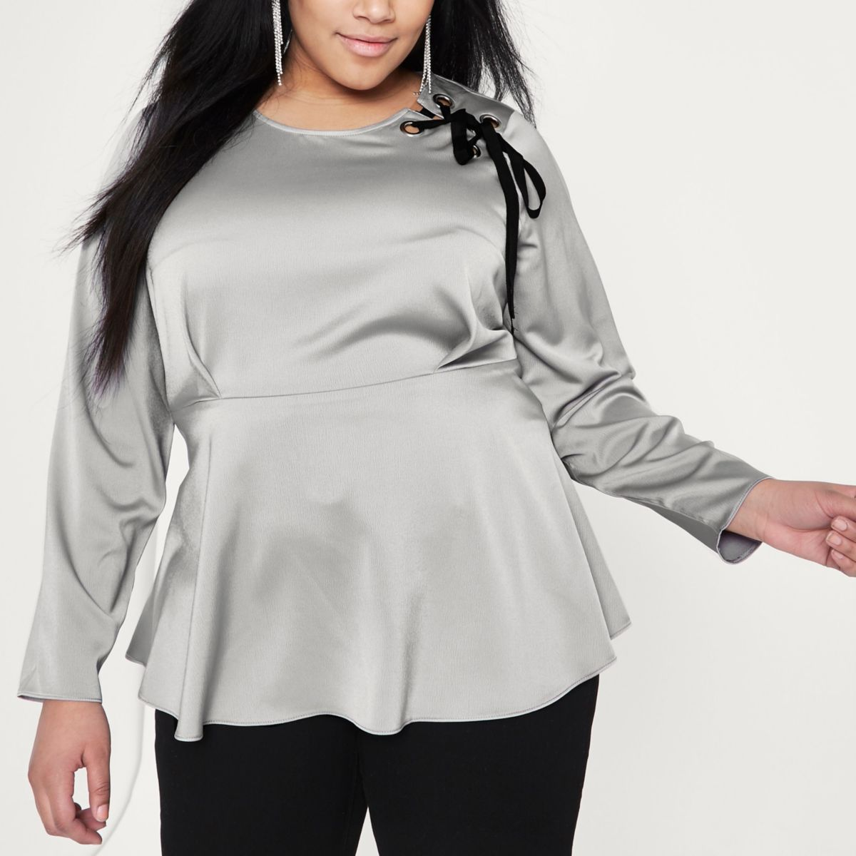 Plus silver lace-up shoulder peplum blouse
