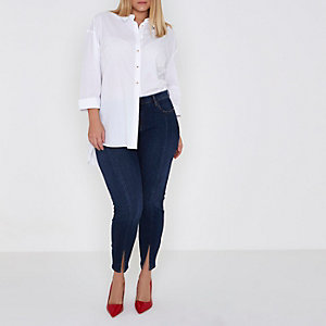 Plus blue Amelie split hem super skinny jeans