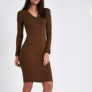 Khaki rib long sleeve V neck midi dress