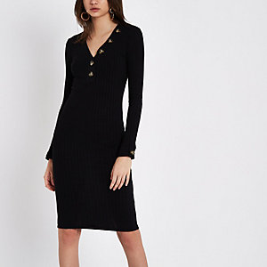 Black rib long sleeve V neck midi dress