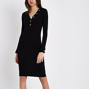 Zwarte geribbelde midi-jurk met lange mouwen en V-hals