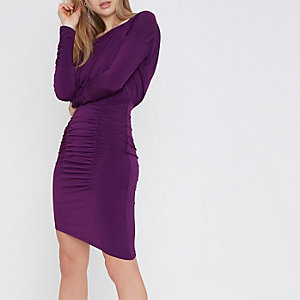 Purple ruched asymmetric hem midi dress