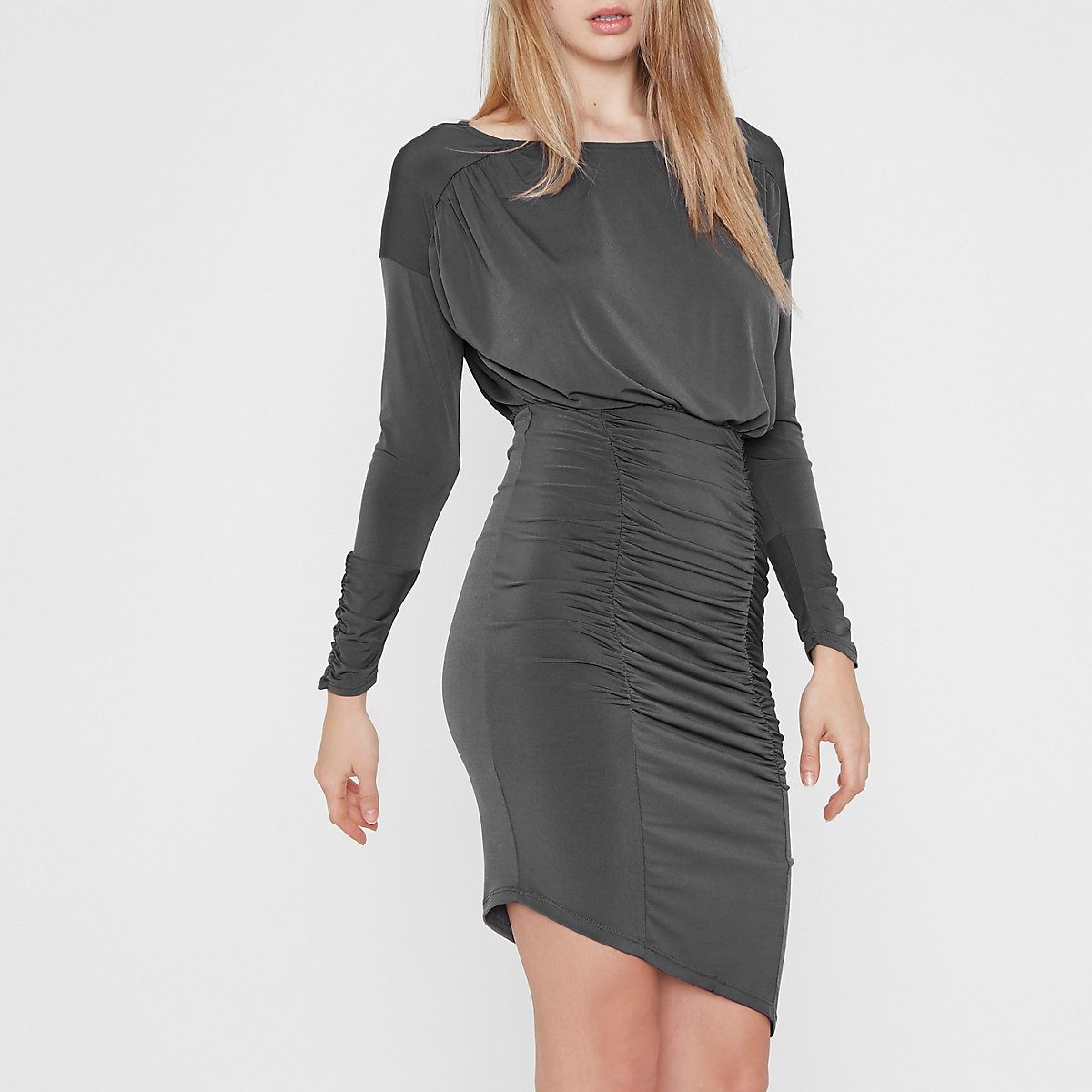 Grey ruched asymmetric hem midi dress
