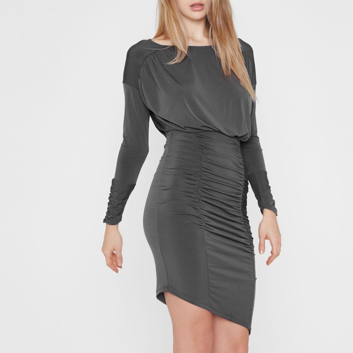 Grey ruched asymmetric hem midi dress