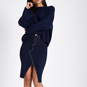 Dark blue split front denim pencil skirt