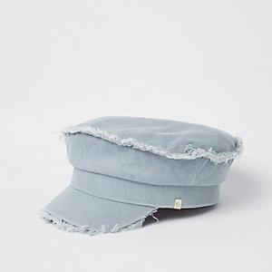 Casquette style gavroche en jean bleu clair
