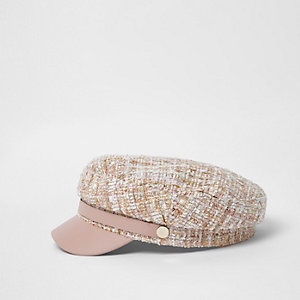 Light pink boucle knit baker boy hat