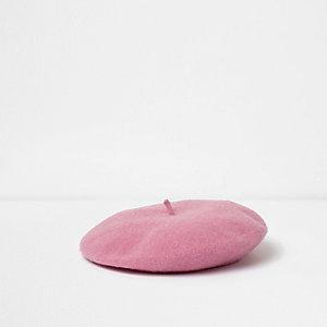 Baskenmütze aus Filz in Pink