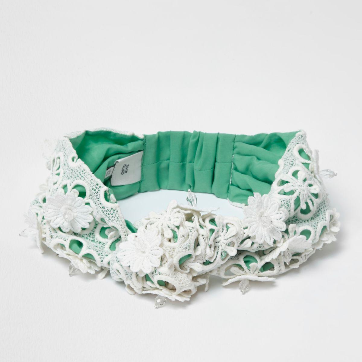 Groene hoofdband met kant en bloemenprint