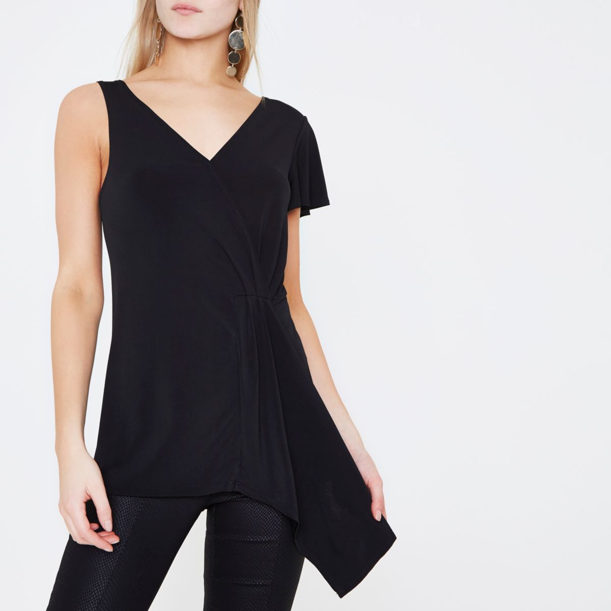 Black draped wrap front frill sleeveless top