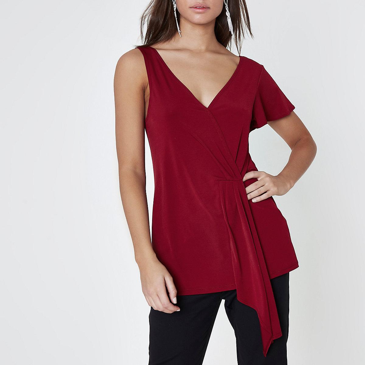 Dark red one shoulder ruched top
