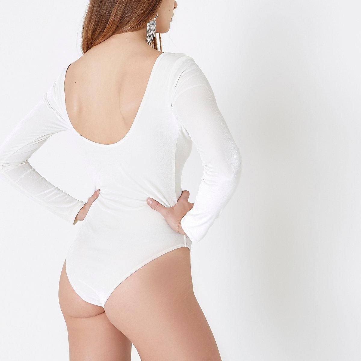 Cream velour long sleeve scoop neck bodysuit - Bodysuits - Tops - women 14e4ea199