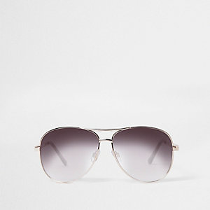 Gold tone aviator smoke lens sunglasses