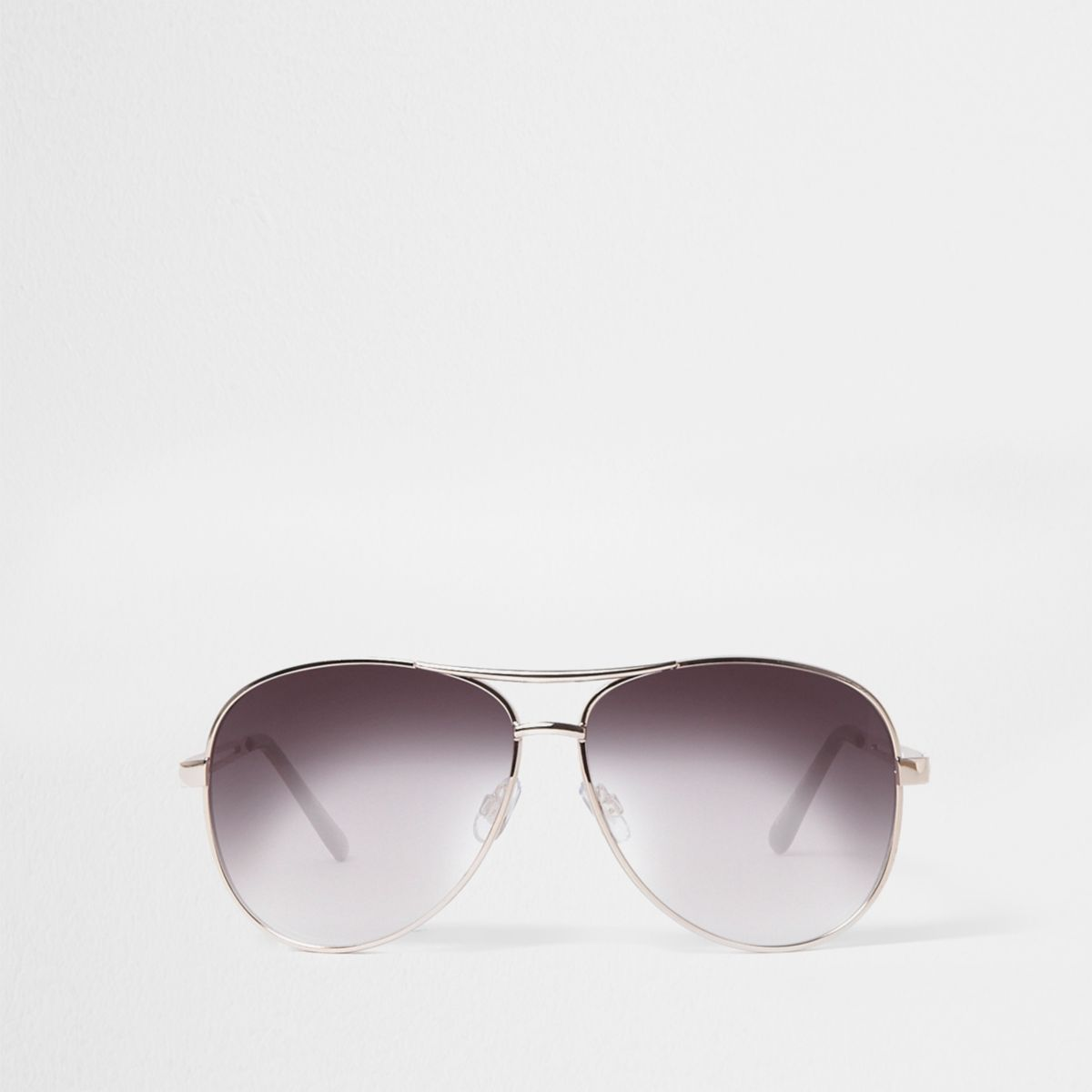 Gold tone aviator smoke lens sunglasses