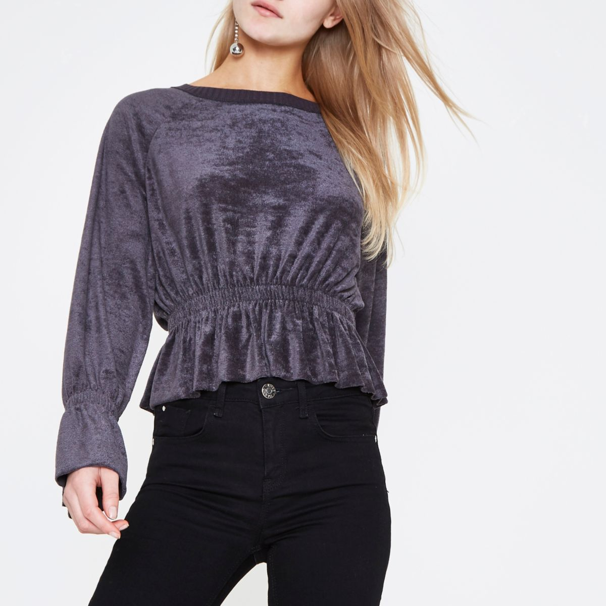 Grey ruched hem long sleeve towelling top