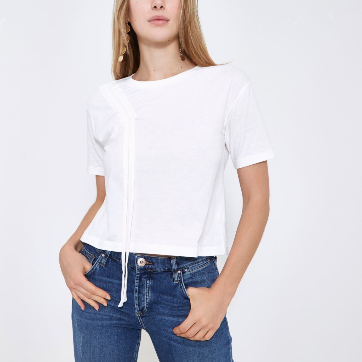 White ruched shoulder boxy T-shirt