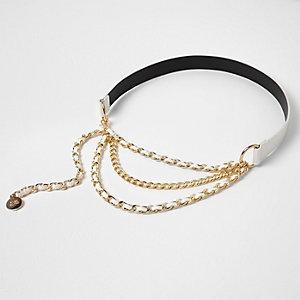 White drape chain waist belt