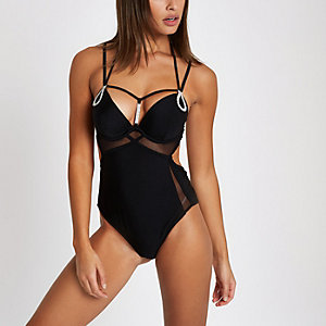 Black rhinestone trim plunge swimsuit
