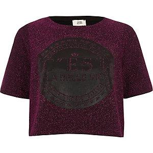 Roze cropped T-shirt met glitter en 'c'est la belle'-print