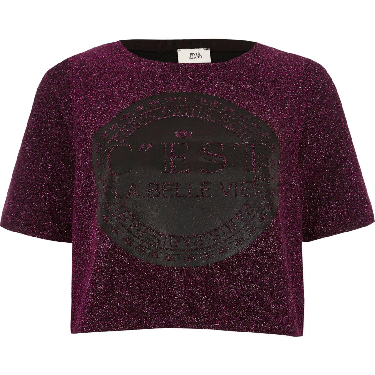 Pink glitter 'c'est la belle' cropped T-shirt