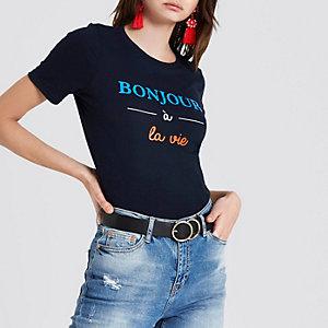 T-shirt ajusté bleu marine à imprimé « Bonjour a toi »