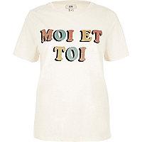 "Beiges T-Shirt mit Glitzerprint ""moi et toi"""