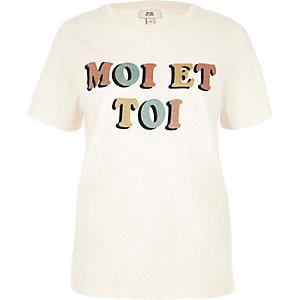 Beige 'moi et toi' glitter print T-shirt